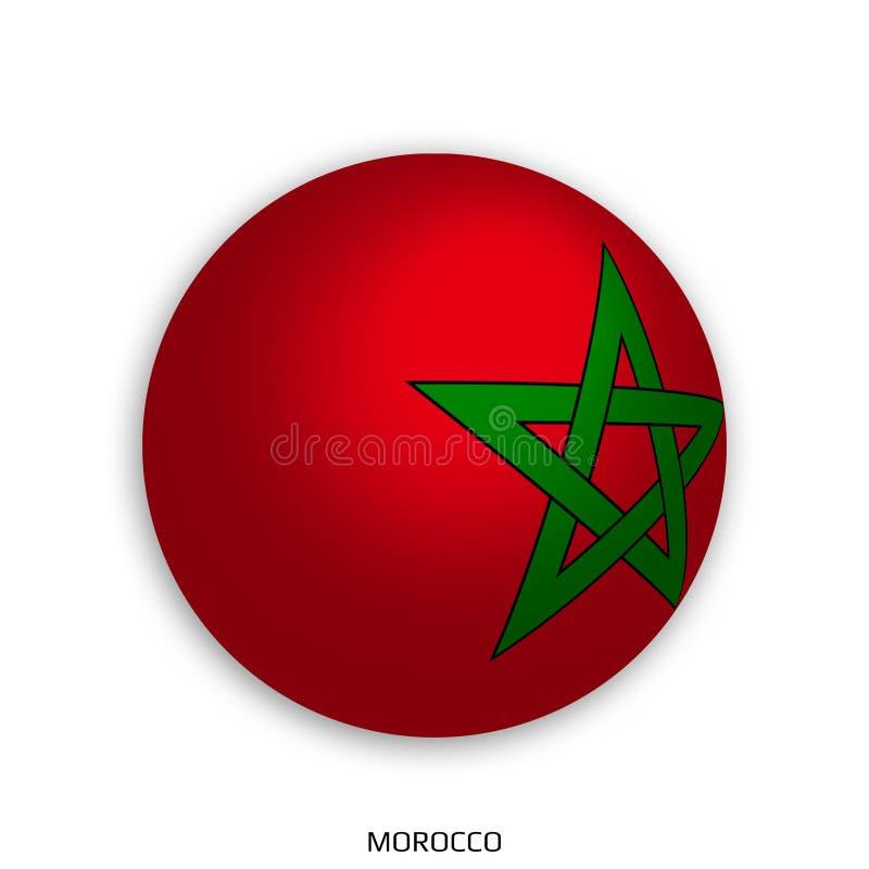 Futbolowy Światowy mistrzostwo z Maroko flaga robić round jako piłki nożnej piłka i odizolowywającą na bielu - opadowy cień ilustracji