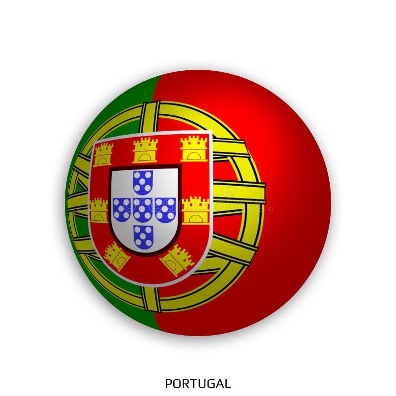 Futbolowy Światowy mistrzostwo z Portugalia flaga robić round jako piłki nożnej piłka i odizolowywającą na bielu - opadowy cień royalty ilustracja