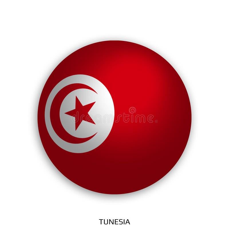 Futbolowy Światowy mistrzostwo z Tunesia flaga robić round jako piłki nożnej piłka i odizolowywającą na bielu - opadowy cień ilustracji