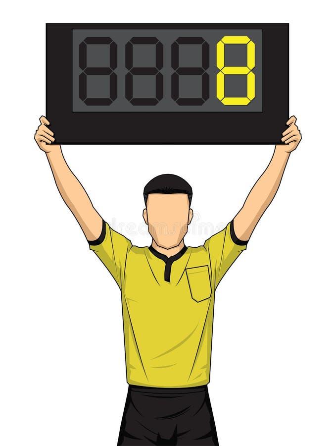 Futbolowy arbiter pokazuje czas dodatkowego gracz piłki nożnej zmiana ilustracja wektor