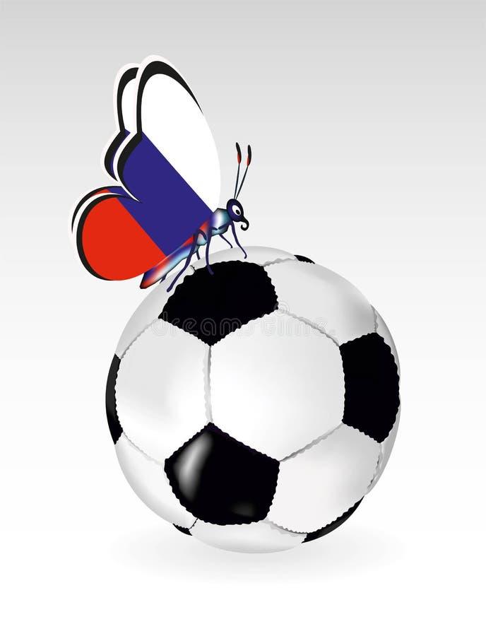 Futbolowy balowy tło z motylem i flaga Rosja royalty ilustracja