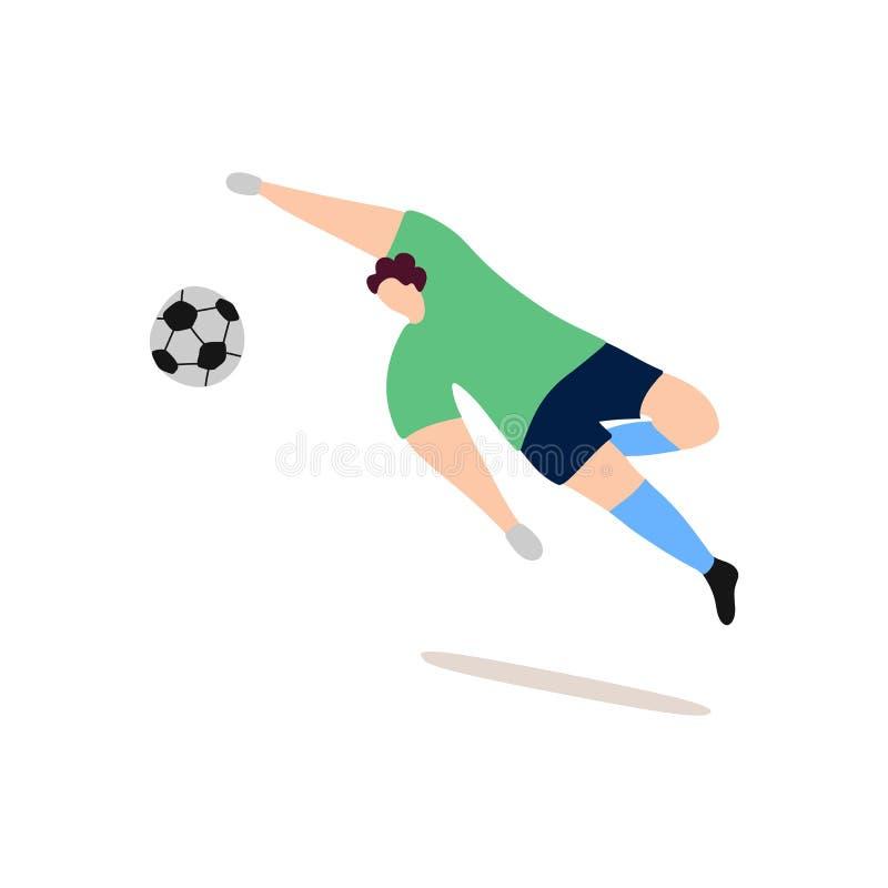 Futbolowy bramkarz łapie balowych nowożytnych charaktery ilustracja wektor