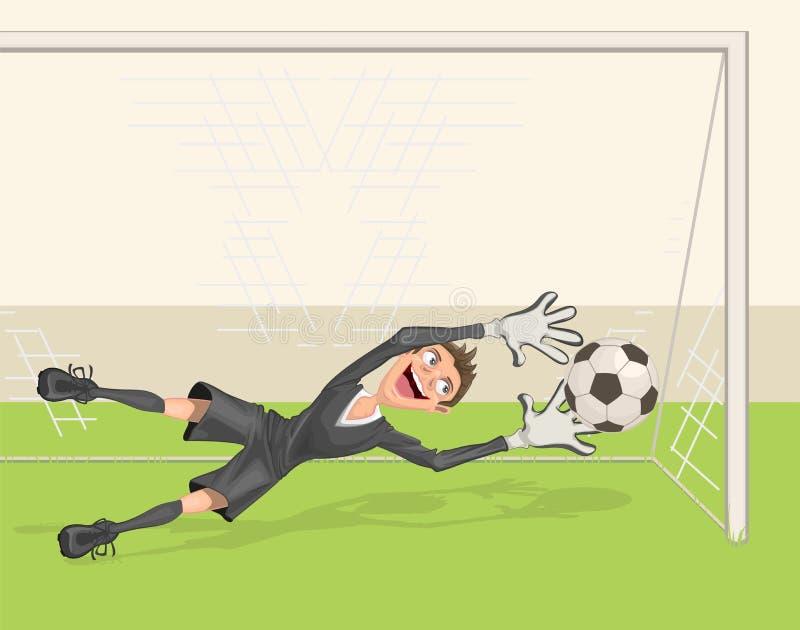 Futbolowy bramkarz łapie piłkę Karny w piłce nożnej royalty ilustracja