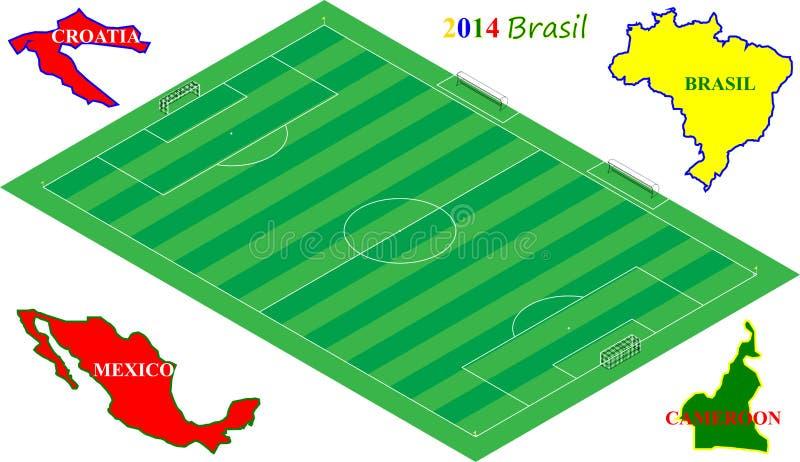 Futbolowy Brasil 2014, 3D boisko do piłki nożnej z grupą A zespala się royalty ilustracja