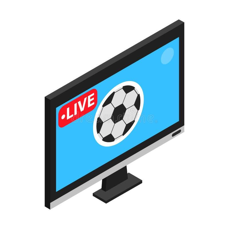 Futbolowy dopasowanie na TV żywego strumienia isometric 3d ikonie ilustracja wektor