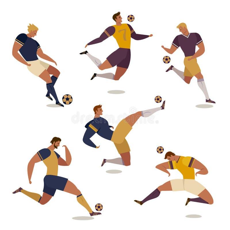 Futbolowy gracz piłki nożnej ustawiający odosobneni beztwarzowi ludzcy charaktery współczłonkowie drużyny arbitrzy i rywalizaci t ilustracji