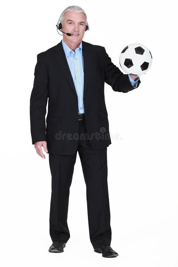 Futbolowy komentator fotografia stock