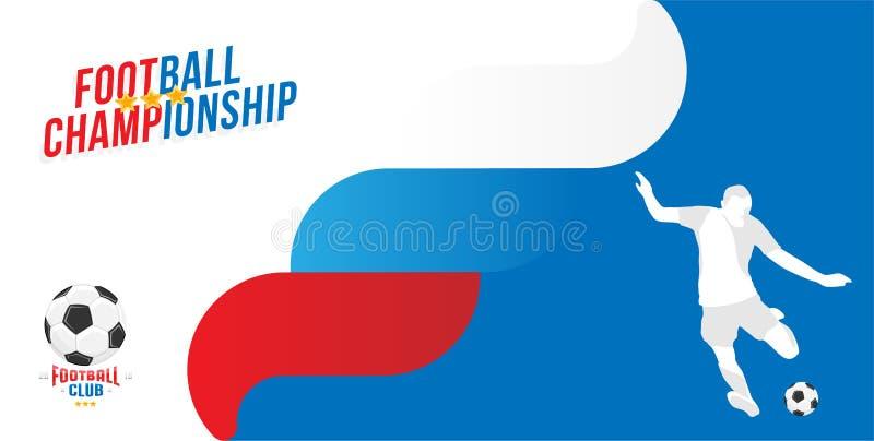 Futbolowy mistrzostwo Sztandaru szablonu horyzontalny format z chrzcielnicy inskrypcją i sylwetką gracz futbolu z royalty ilustracja