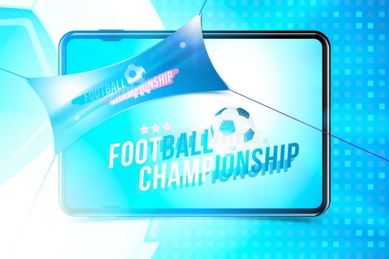 Futbolowy mistrzostwo Sztandaru szablonu horyzontalny format z pastylką, futbolową piłką i tekstem na tle z a, royalty ilustracja