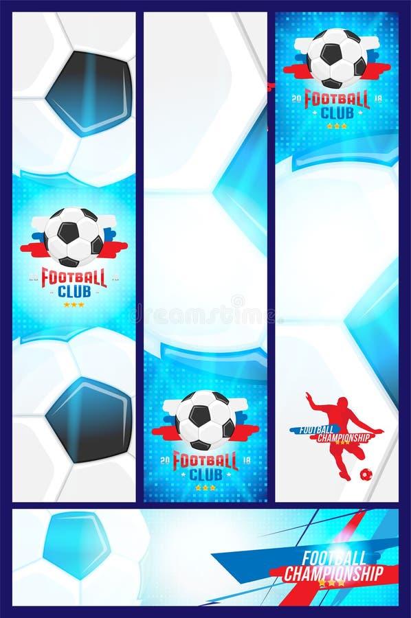 Futbolowy mistrzostwo Ustawia sztandaru szablonu pionowo, horyzontalnego format z i ilustracji