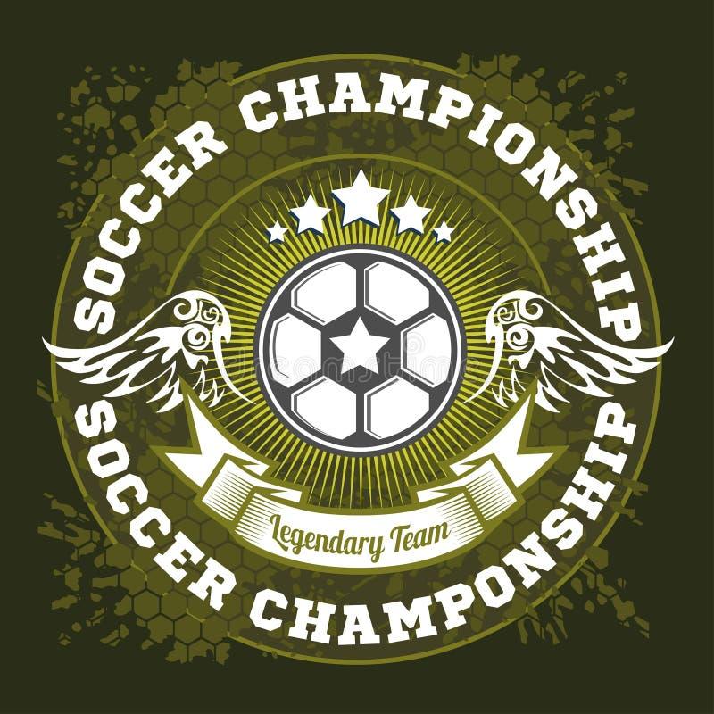 Futbolowy odznaka loga szablonu projekt, piłki nożnej drużyna royalty ilustracja
