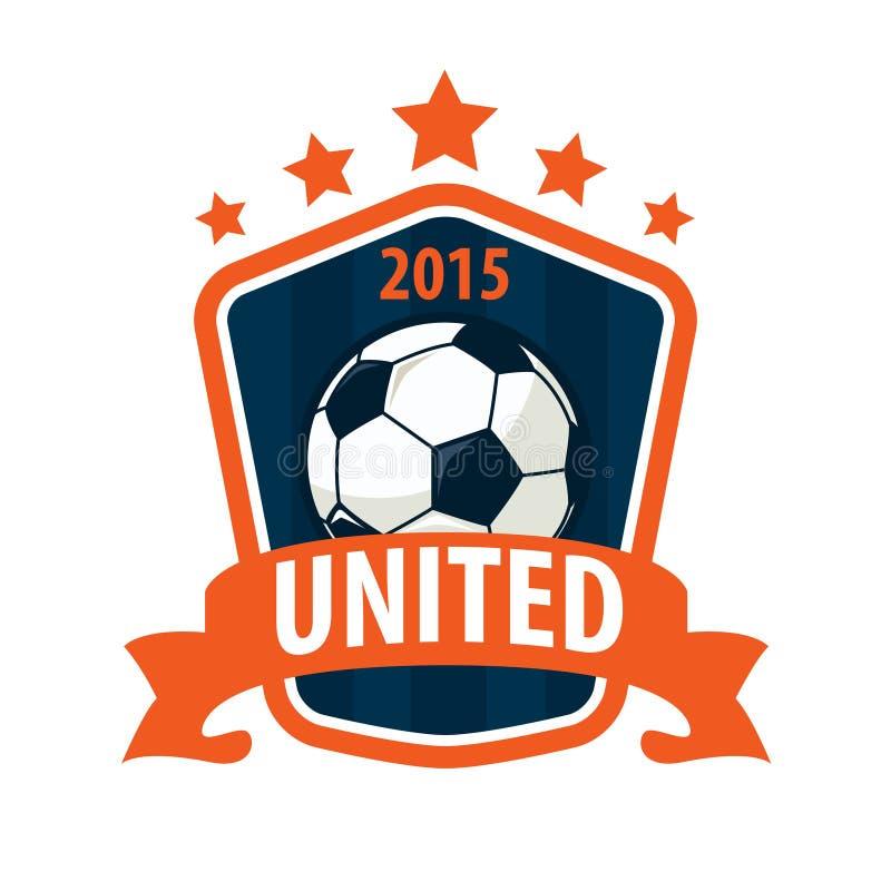 Futbolowy odznaka loga szablonu projekt, piłki nożnej drużyna, wektorowy illuatrat royalty ilustracja