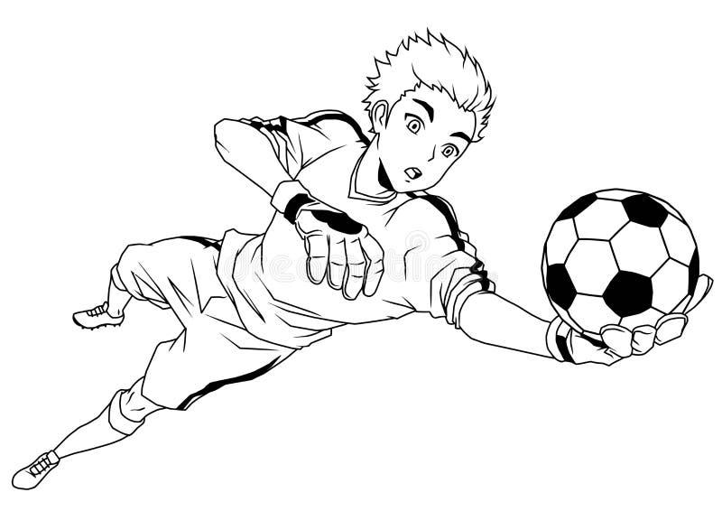 Futbolowy piłka nożna bramkarz łapie piłkę royalty ilustracja