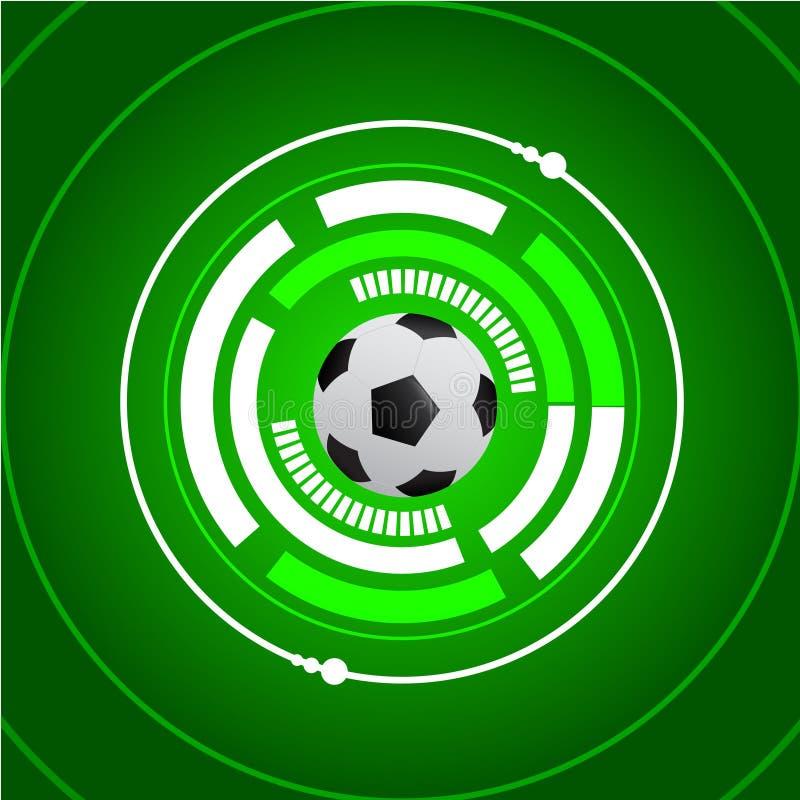 Futbolowy piłki nożnej cyber zieleni tło ilustracja wektor
