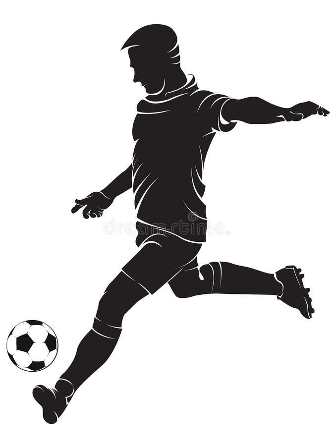 Futbolowy (piłki nożnej) gracz z piłką ilustracji