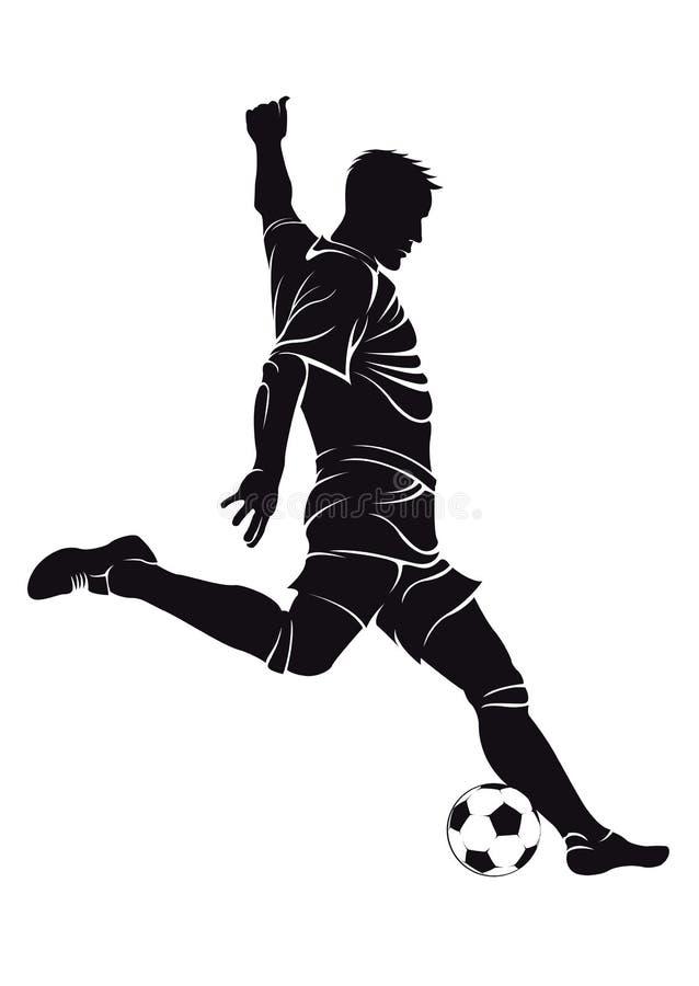 Futbolowy (piłki nożnej) gracz z piłką ilustracja wektor