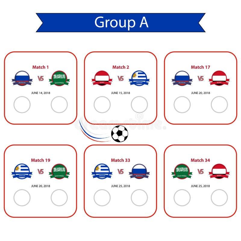 Futbolowy pucharu świata 2018 rozkład Międzynarodowy światowy championsh ilustracja wektor