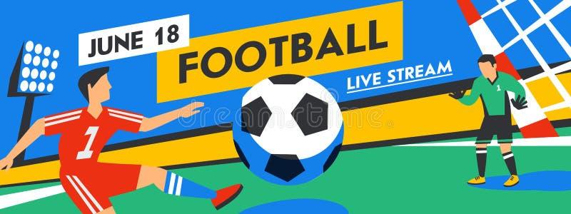 Futbolowy sie? sztandar Żywy strumienia dopasowanie Gracz futbolu z piłką w tle stadium Pełnego koloru wektor ilustracja wektor