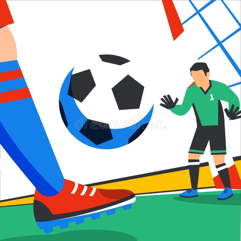 Futbolowy sie? sztandar Posyła i bramkarz w stadium w tle stadium ?yje strumie? gr? kara folowa? ilustracji