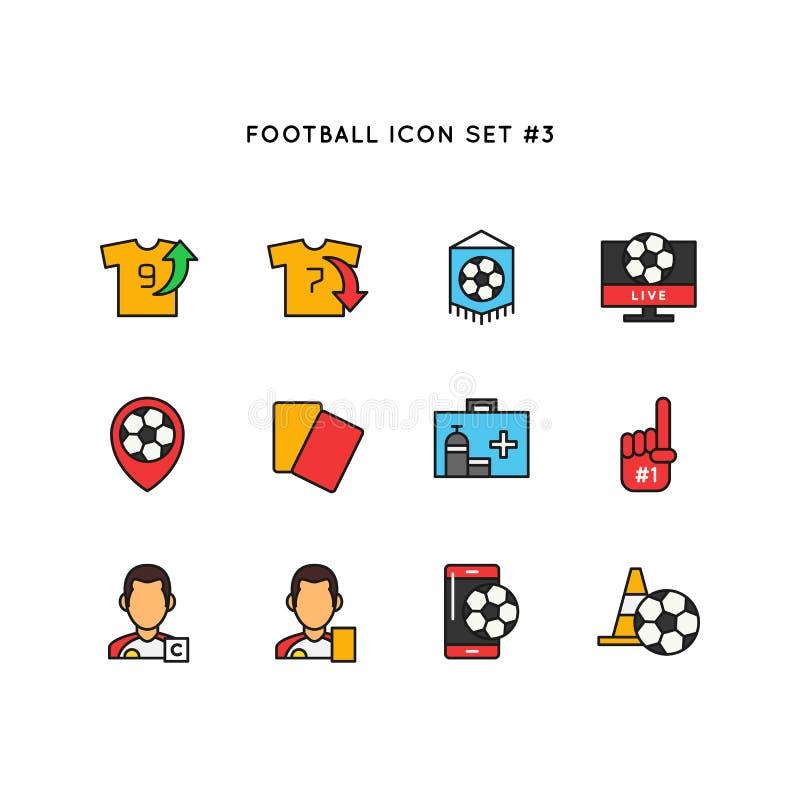 Futbolowy sport ikony set Piłka nożna przedmiota ilustracja Prosty czyści linia barwiącego symbol ilustracji