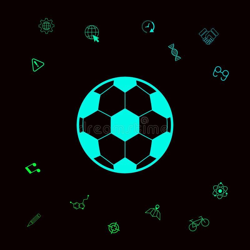 Futbolowy symbol Piłki nożnej piłki ikona Graficzni elementy dla twój designt royalty ilustracja