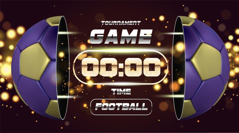 Futbolowy sztandar Z 3d złotą błękitną piłką Meczu piłkarskiego dopasowania projekt z zegarem lub tablicą wyników Przyrodnia futb royalty ilustracja
