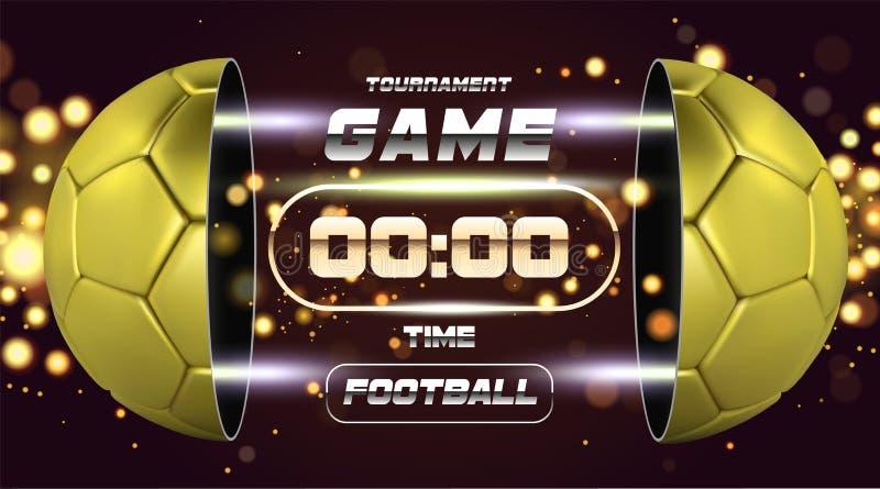 Futbolowy sztandar Z 3d złotą piłką Meczu piłkarskiego dopasowania projekt z zegarem lub tablicą wyników Przyrodnia futbolowa pił ilustracja wektor