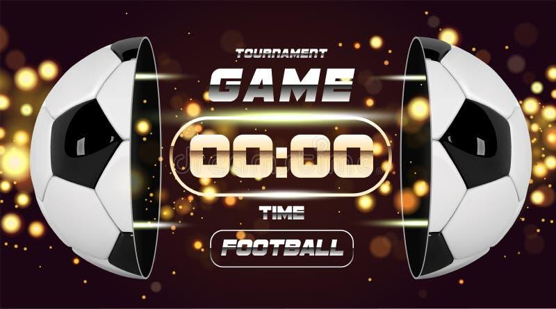 Futbolowy sztandaru lub ulotki projekt z 3d piłką Meczu piłkarskiego dopasowania projekt z zegarem lub tablicą wyników Przyrodnia royalty ilustracja
