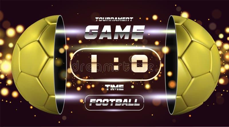 Futbolowy sztandaru, plakata lub ulotki projekt z 3d złotą piłką, Meczu piłkarskiego dopasowania projekt z zegarem lub tablicą wy ilustracji
