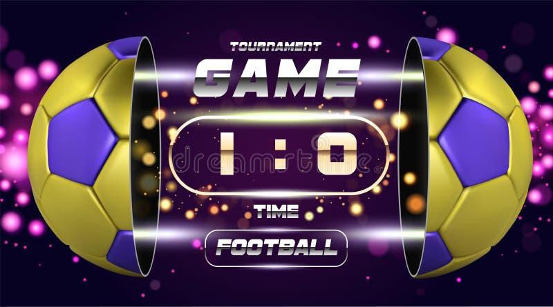 Futbolowy sztandaru, plakata lub ulotki projekt z złotą błękita 3d piłką, Meczu piłkarskiego dopasowania projekt z zegarem lub ta ilustracji