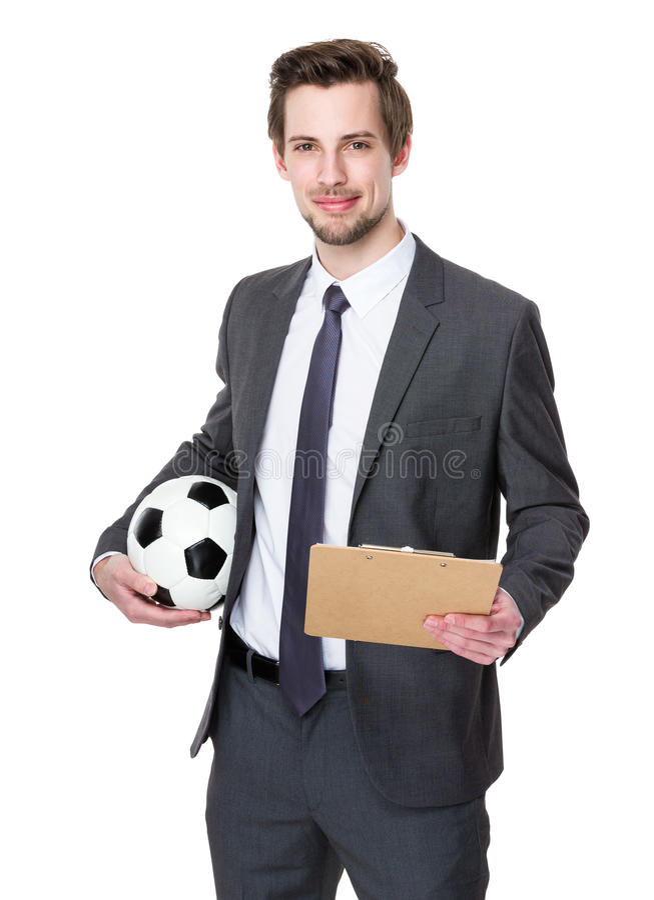 Futbolowy trenera chwyt z piłka nożna schowkiem i piłką zdjęcie royalty free