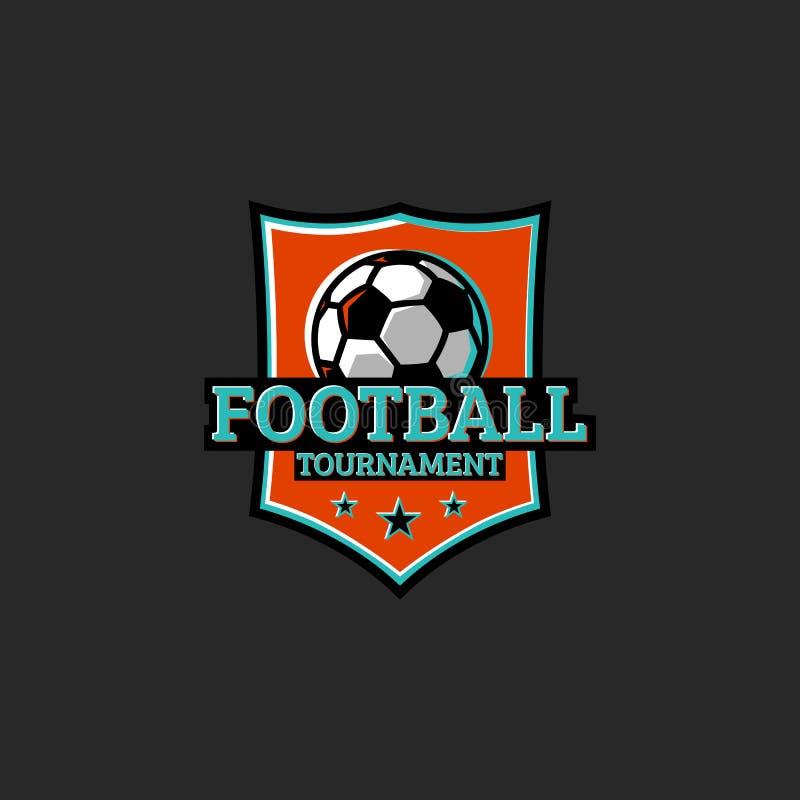 Futbolowy turnieju, klubu lub ligi majcheru sporta logo, Koszulka druku klubu emblemata typografii projekta element Piłki nożnej  royalty ilustracja