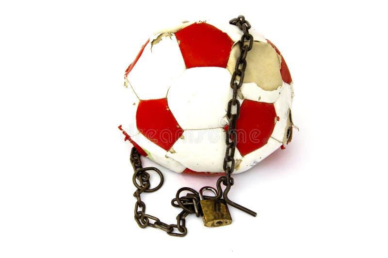 Futbolowy zakaz, futbolowy bloking, konceptualna sport niesława, obrazy stock
