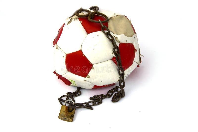 Futbolowy zakaz, futbolowy bloking, konceptualna sport niesława, zdjęcie stock