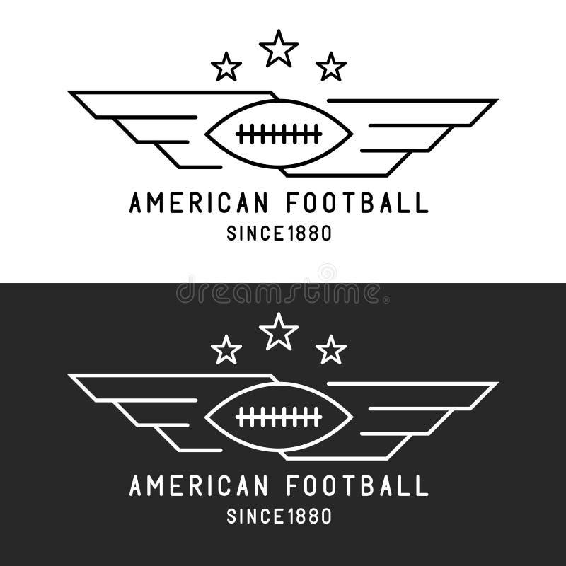 Futbolu amerykańskiego balowy logo, lata z skrzydłami, mockup sporta turnieju cienki kreskowy emblemat, czarny i biały tło ilustracja wektor