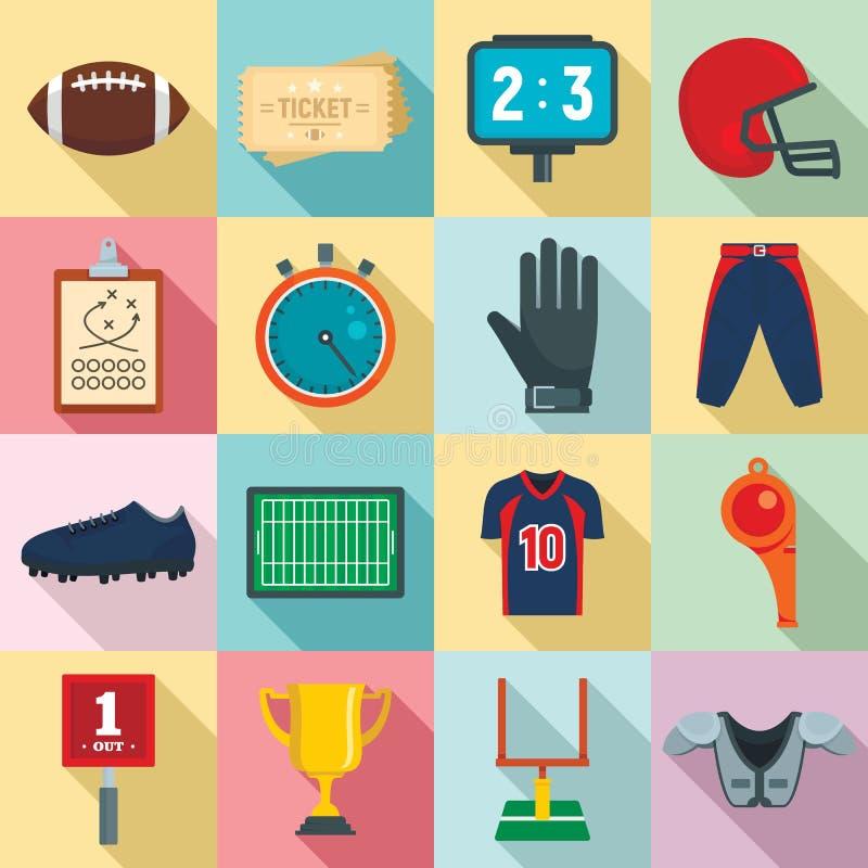 Futbolu amerykańskiego wyposażenia ikony ustawiać, mieszkanie styl royalty ilustracja