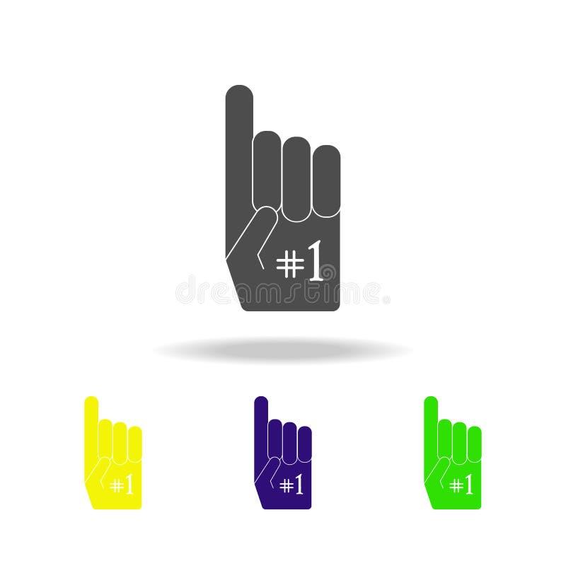 Futbolu amerykańskiego fan koloru rękawiczkowe ikony r Znaki, symbol inkasowe ikony dla sieci royalty ilustracja