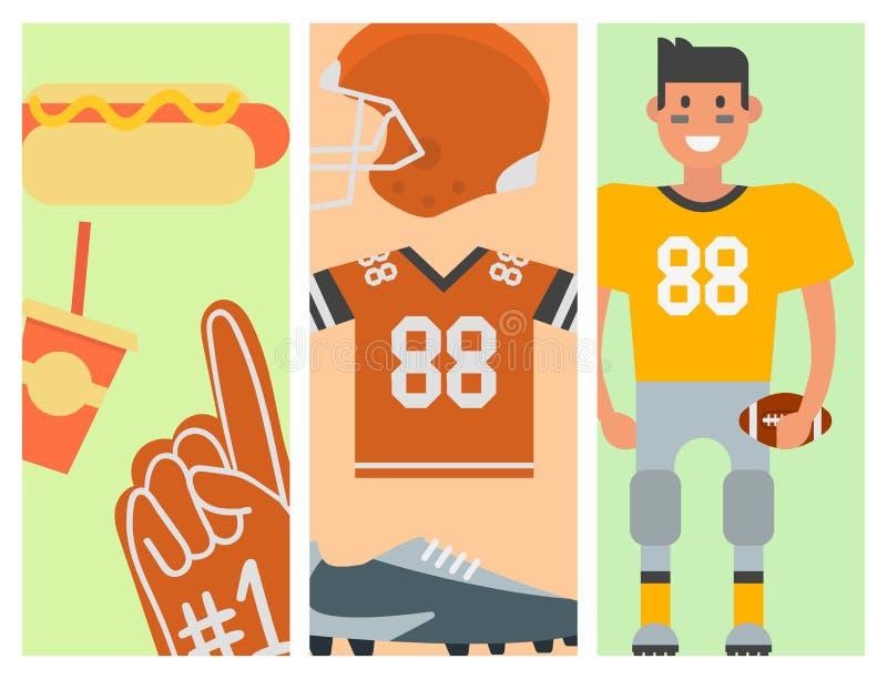 Futbolu amerykańskiego gracz i sport gemowych ikon wektorowa kreskówka projektujemy rozgrywającego sukcesu usa skokowej atlety ilustracji