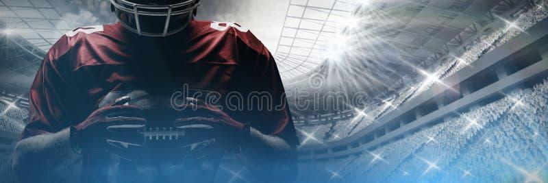 Futbolu amerykańskiego gracza pozycja w rugby hełmie i mienie rugby piłce ilustracji