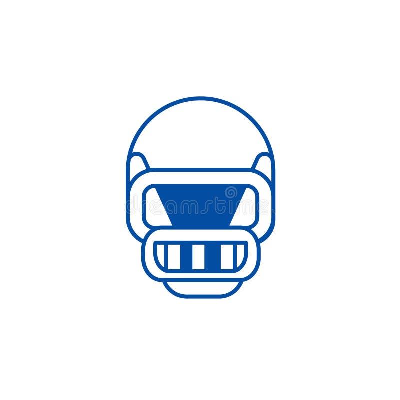 Futbolu amerykańskiego hełma linii ikony pojęcie Futbolu amerykańskiego hełma płaski wektorowy symbol, znak, kontur ilustracja ilustracji