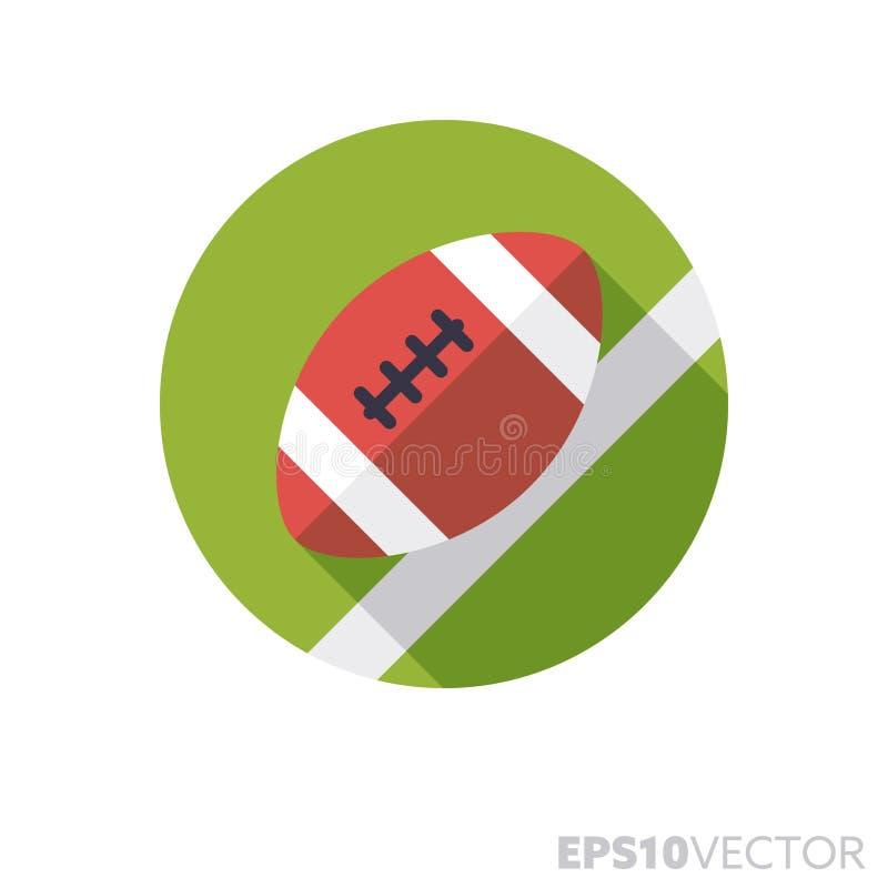 Futbolu amerykańskiego jajko na śródpolnego płaskiego projekta cienia koloru wektoru długiej ikonie ilustracja wektor