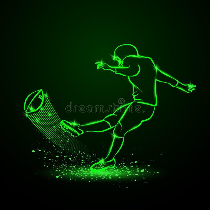 Futbolu amerykańskiego kopacz uderza piłkę Zielony neonowy sporta tło ilustracja wektor
