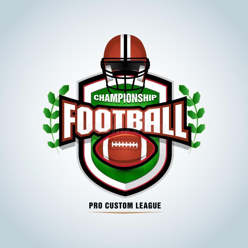 Futbolu amerykańskiego loga szablon, odznaka, koszulka, etykietka, emblemat Futbolowy hełm również zwrócić corel ilustracji wekto ilustracja wektor