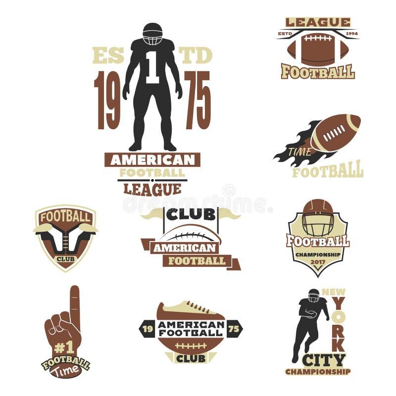 Futbolu amerykańskiego mistrzostwa odznaki szablon dla sport drużyny z balowym logo rywalizaci wektorem ilustracji