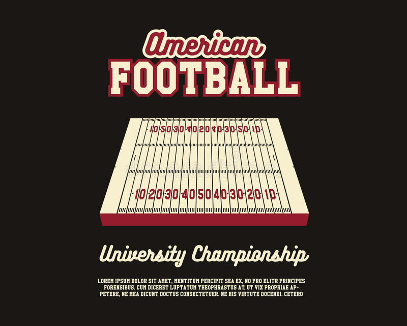 Futbolu Amerykańskiego mistrzostwa uniwersytecki układ ilustracja wektor