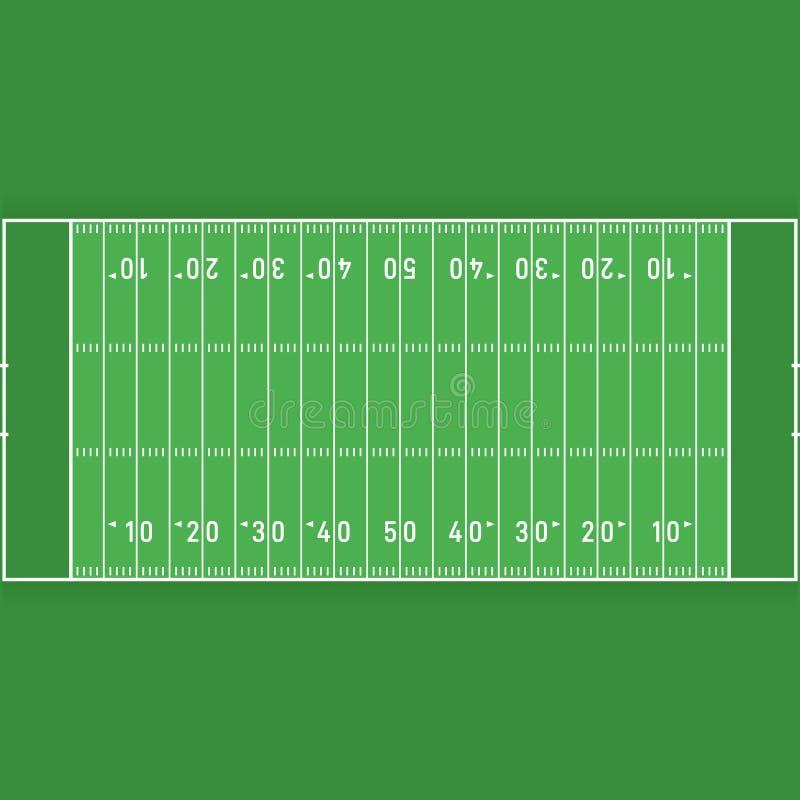 Futbolu amerykańskiego pole od odgórnego widoku płaskiego projekta ilustracji