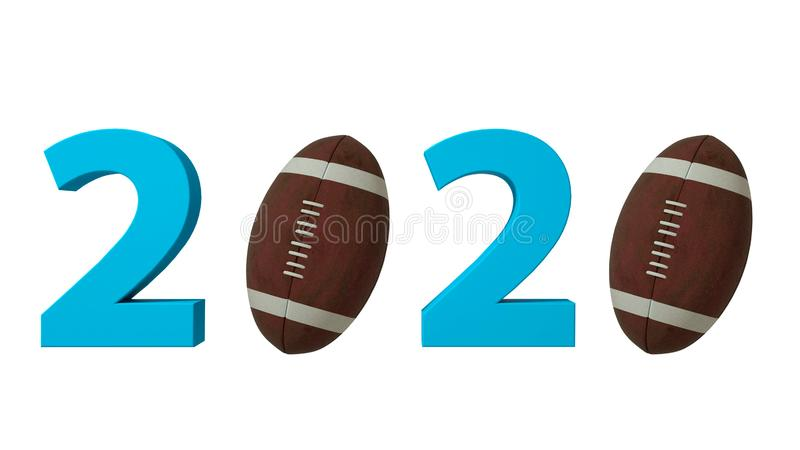 Futbolu amerykańskiego 2020 projekta tło na Białym tle ilustracja 3 d ilustracja wektor