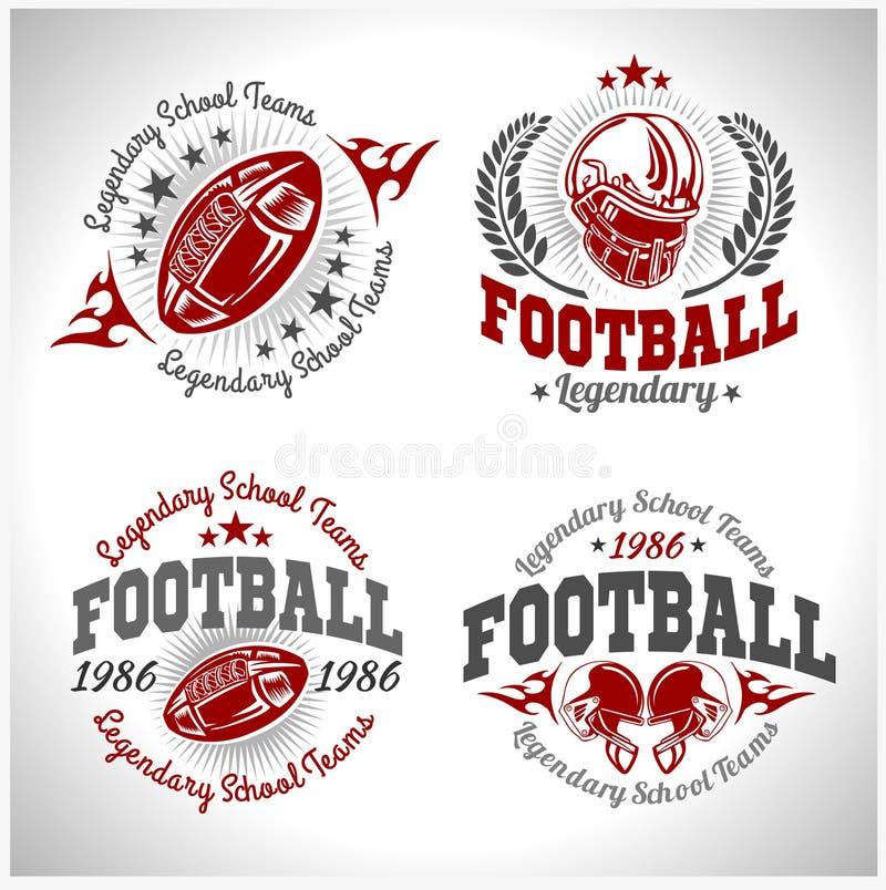 Futbolu amerykańskiego rocznika wektoru etykietki dla plakata ilustracja wektor