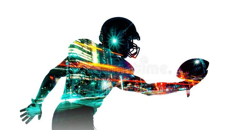 Futbolu amerykańskiego sportowa gracz w hełmie Sport tapeta Mieszana fotografia obrazy stock