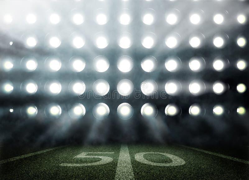 Futbolu amerykańskiego stadium w światłach i błyskach w 3d ilustracji